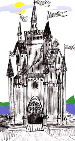 how to draw a castle draw step by step