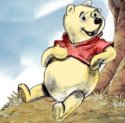 Drawing Winnie the Pooh, step by step