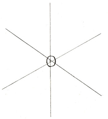 How to draw a snowflake step 1
