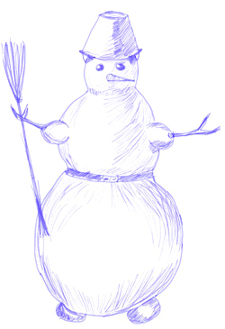 How to Draw a Snowman, step 5
