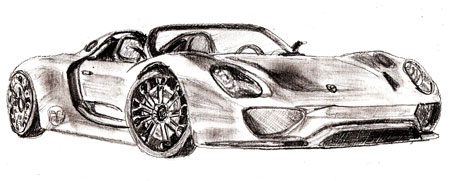 porche sport car drawing in pencil - Sport Cars Drawings